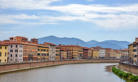 arno: old architecture and river Arno, Pisa, italy
