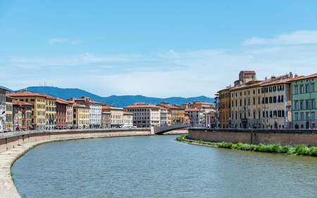 river arno: old architecture and river Arno, Pisa, italy