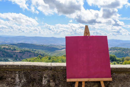 canvas on wall: pink canvas, wall and landscape Stock Photo