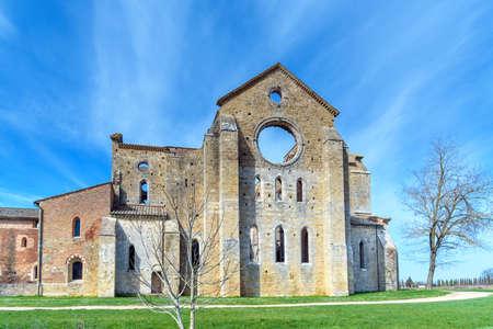 Abbey of San Galgano, tuscany, italy-San Galgano, italy-march 12, 2017- The Abbey of San Galgano was a Cistercian monastery, situaded near Siena Stock Photo