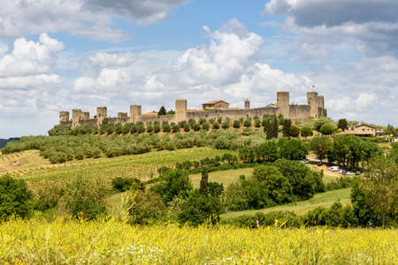 Monteriggioni, tuscany, italy - May 20, 2017 - panoramic views of the medieval walled town Editorial
