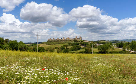 Monteriggioni, tuscany, italy - May 20, 2017 - panoramic views of the medieval walled town Stock Photo