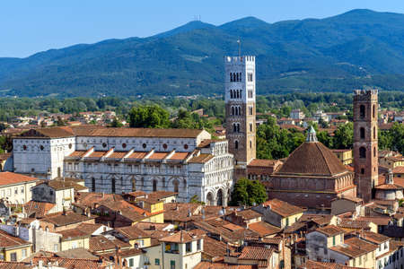 Panorama of Lucca with St. Martin cathedral, tuscany, italy Stock Photo