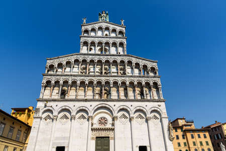 inlay: Church of San Michele in Foro in Lucca, tuscany, italy Stock Photo