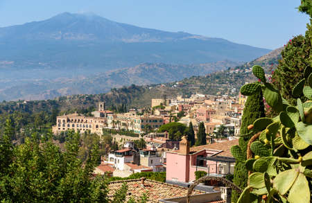 Taormina and Etna volcano, sicily, italy Stock Photo