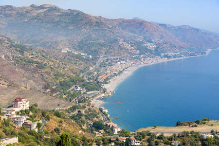 landscape with beaches in Taormina, sicily, italy Stock Photo