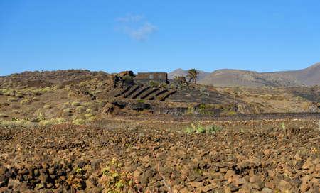 landscape in Lanzarote, Canary Islands, Spain Stock Photo