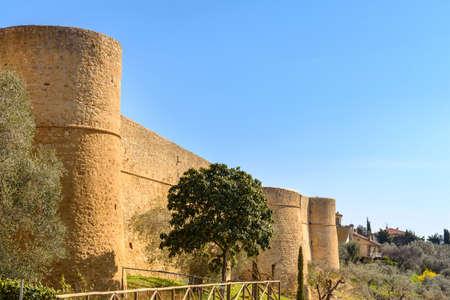 ancient walls in Magliano in Tuscany, tuscany, Italy Stock Photo