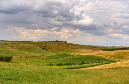 farmland and green field in tuscany, Italy Stock Photo