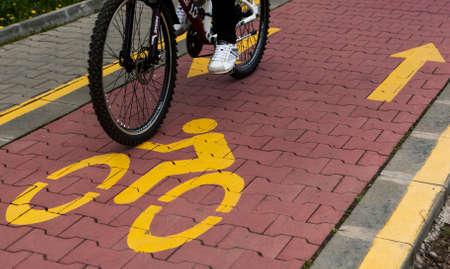 lane marker: Bike lane marker on roadway Stock Photo