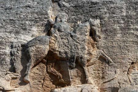 Madara 라이더는 초기 중세 대형 바위 구호입니다. 이것은 불가리아의 세계적인 simbol입니다 스톡 콘텐츠