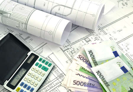 drawings image: Image of several drawings of the project and money