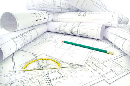 drawings image: Image of several drawings of the project and instruments Stock Photo
