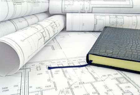 drawings image: Image of the book and several drawings for the project engineer jobs