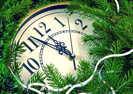clock in christmas tree photo