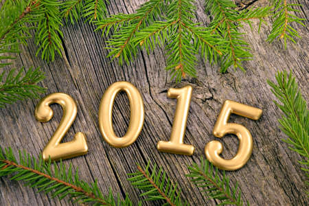 Preview New Year background with decorations and fir twigs photo