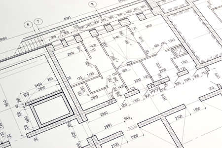 Floor plan designed building on the drawing Stock Photo
