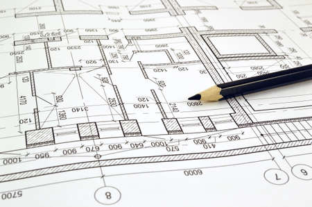 building: Floor plan designed building on the drawing Stock Photo