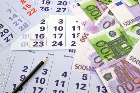 meses del a�o: Calendario mes de imagen con el dinero Foto de archivo