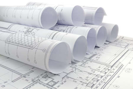 construction industry: Image of several drawings for the project engineer jobs