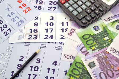 Image month calendar with money and calculator