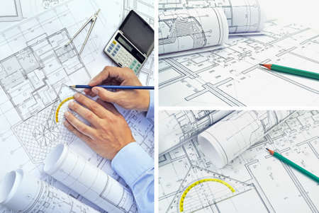 line design: Collage of photos of drawings for the project engineering work