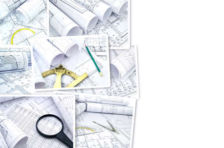 devise: Collage of photos of drawings for the project engineering work