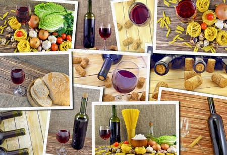 aftertaste: Collage of photos of wines Stock Photo