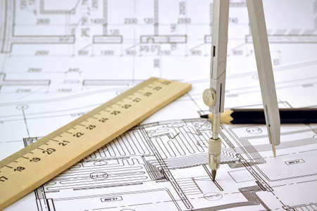 line design: Plan and planning designed building with a pencil on the drawing Stock Photo