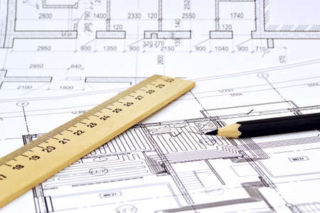 reckon: Plan and planning designed building with a pencil on the drawing Stock Photo