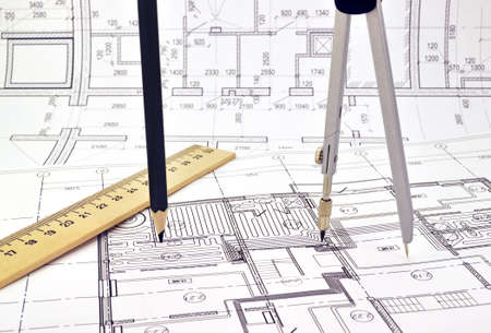 Plan and planning designed building with a pencil on the drawing Reklamní fotografie
