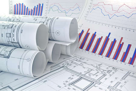 Photo drawings for design engineering works with graphs and diagrams