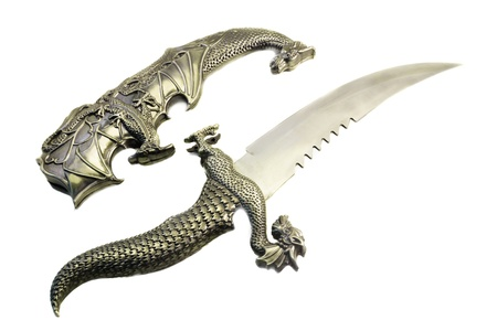 small sword: The small curved sword and sheath from metal, are executed in Japanese style in the form of a dragon  Are presented on a white background Stock Photo
