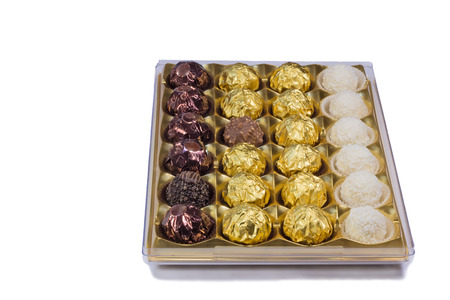 A variety of chocolates in a box. Presented on a white. photo
