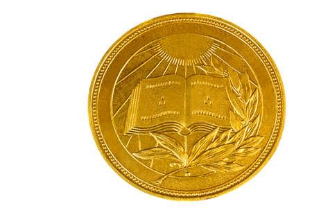 round brilliant: Ronda brillante medalla con la imagen del libro y una rama de laurel, un premio por el progreso en la formaci�n, la ciencia.