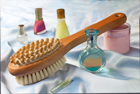 Convenient wooden brush for body and means massage for care of a body photo