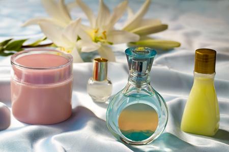Cosmetics for care of a body and the person: cream, shampoo, deodorant photo