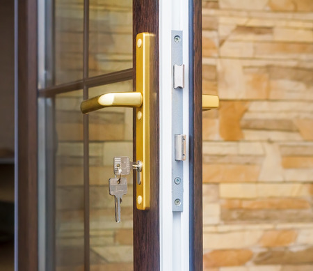 new technology: The fragment input glazed door with lock with handle and key.