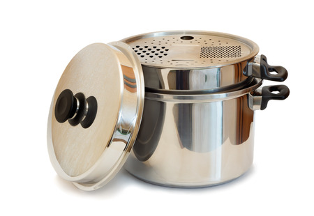 stainless steel pot: A large stainless steel pot with lid and convenient carry handles. Presented on a white background.