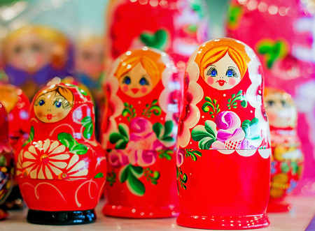 russian nested dolls: Made of a tree and beautifully painted dolls - the nested dolls, traditional Russian toys for children.