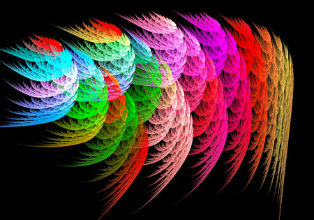 depict: Fractal image on a black background depict colorful drawings in the form of beautiful feathers. Stock Photo