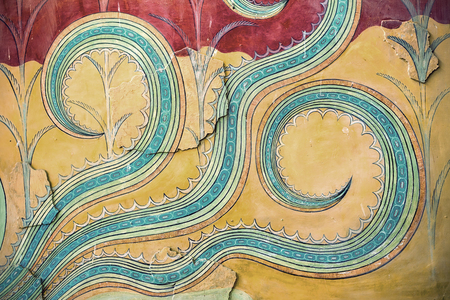 minoan: The restored fragment of ancient wall paintings. on the ruins of the Palace of Knossos . The Minoan era, the island of Crete, Greece. Stock Photo