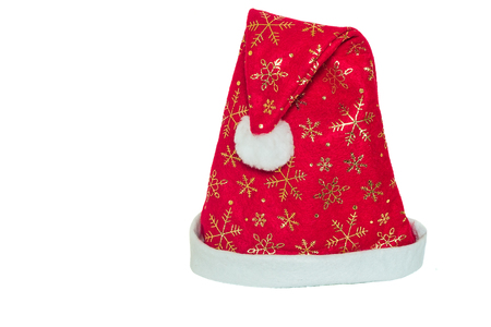 klaus: Hat for Santa Claus bright red color, adorned with shiny snowflakes and flowers, and trimmed with white fur.
