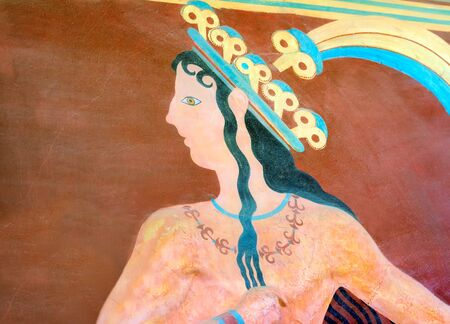 minoan: The restored fragment of ancient wall paintings. on the ruins of the Palace of Knossos . The Minoan era, the island of Crete, Greece. Editorial