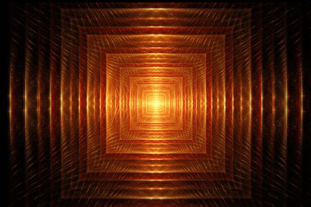 light at the end of the tunnel: Fractal image on a dark background colorful lines come together in the form of a tunnel, at the end of which a bright light.