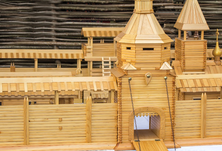 workmanship: Made of natural wood layout of the ancient fortress with ramparts, towers, gates, stairs, outbuildings.