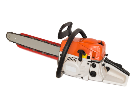 ergonomic: On a white background presents a modern chainsaw with ergonomic design.