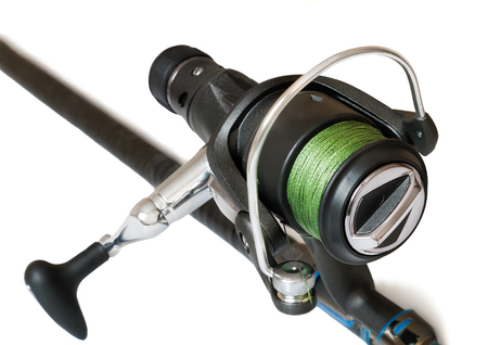 tackle: United Kingdom the feeder with fishing line - a fishing tackle for catching fish. Presented on a white background. Stock Photo