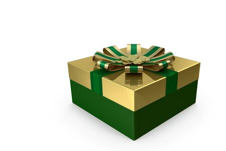 3D illustration: beautifully designed and decorated with ribbon box gift for Christmas, anniversary, birthday. Stock Photo