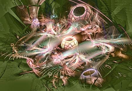 Fractal image resembling Christmas decorations, balls, garlands.